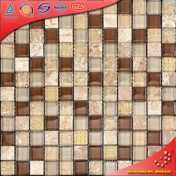 KS251 23X23mm square shape crystal glass kitchen backsplash tile