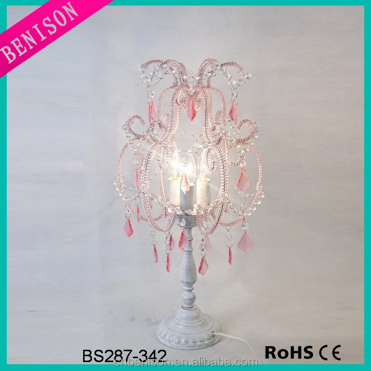 Hot selling pink cheap table top chandelier lighting with crystal wholesale decorative arcylic crystal chandelier cheap for home