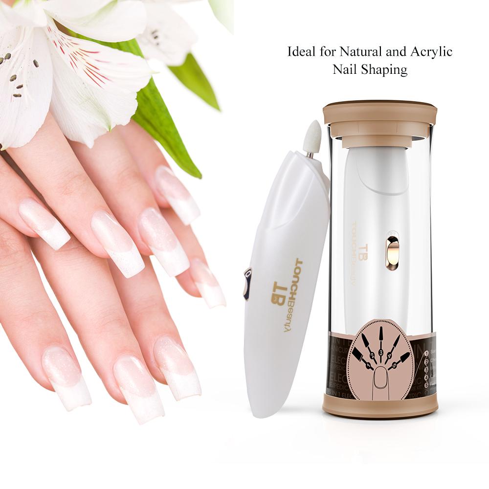 Portable electric nail file manicure pedicure tool set