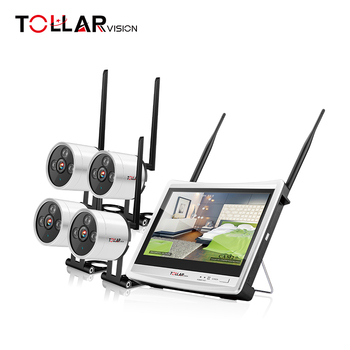 factory price tollar vision motion alarm 4ch WIFI ip camera nvr kits with monitor screen mini diy security camera kit