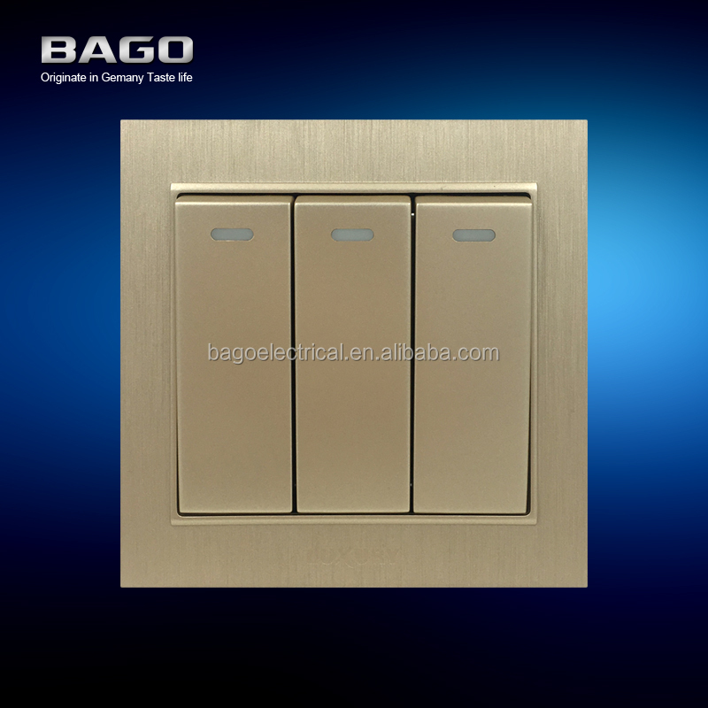 vertical golden PC brushed 3 gang 1 way electrical switch
