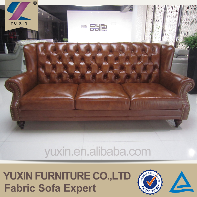 Paint Leather Chesterfield Style Genuine Leather Sofa Set