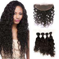 Virgin Mongolian Water Wave Hair Weaves 4pcs Human Hair Bundles With Full Lace Frontal Pre Plucked 13*4