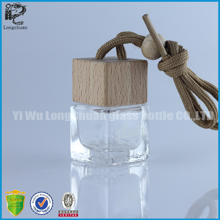 5ml mini perfume square glass bottle for car pendant wooden cap empty air freshener