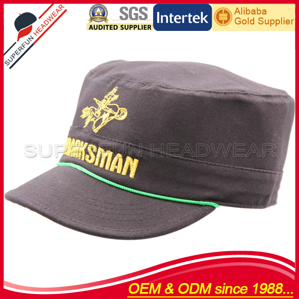 100% cotton embroidered flat top army caps buy online