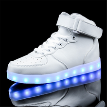 2016 of the latest high quality fashion adult unisex casual high top led shoes