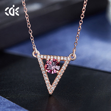CDE original crystals from Swarovski factory wholesale 925 sterling silver chain rose gold plated necklace