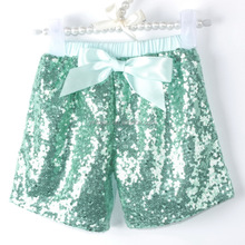 Fashion summer bright color sequin shorts hot sale girl sparkle children shorts