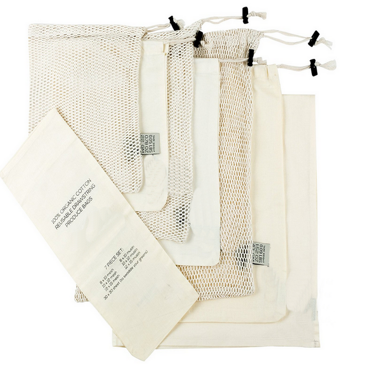 7 sets eco-friendly organic cotton drawstring mesh /muslin bag eco net bag
