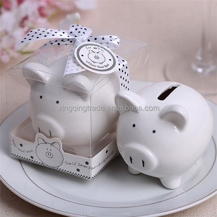 White Piggy Bank Pig Alcancias Money Box for child kids Saving Coin Cent Penny Baby Shower Birthday Gifts