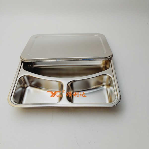 square 3 compartments canteen dinner plates with lid stainless steel food dinner plates