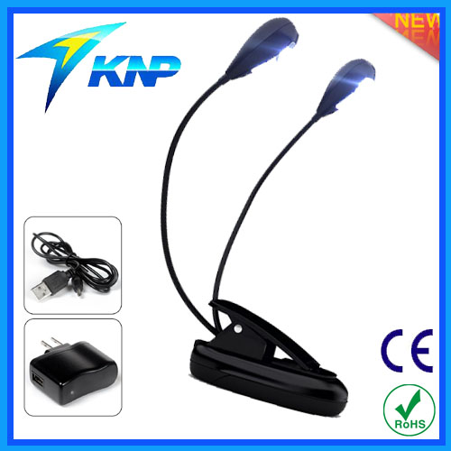 Flexible 2 Arms Rechargable LED Clip On Book Light