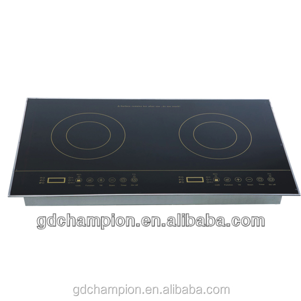 2014 hot sales home appliance high quality low price 110V 220V CE ROHS double burner crystal panel schott ceran induction cooker