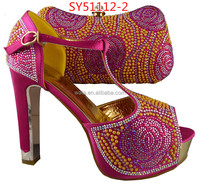 SY51112-2 african Rose pattern beads square heel fuchsia shoes and bag set for wedding party
