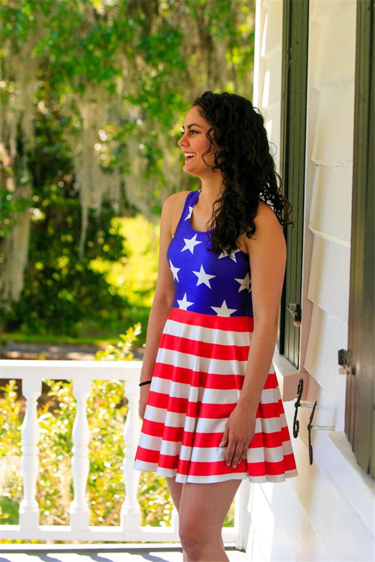 American Flag Fashion Digital Pleated Printed Women Dress