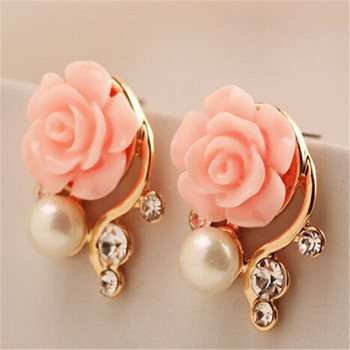 Jewelry New Brand Design Alloy Rose Pearl Stud Earrings For Women