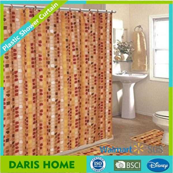 Nice Walmart Stock European Style Printed Hookless Shower Curtain