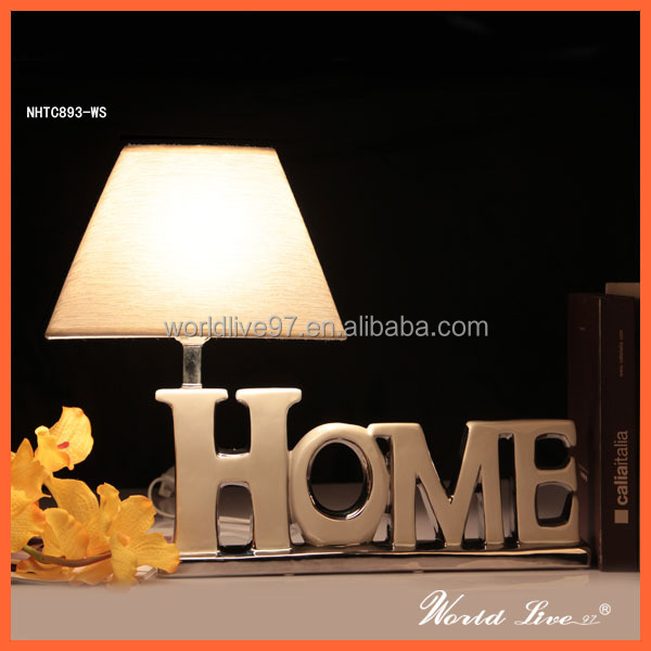 "NHTC893-WS White and Silver Ceramic ""HOME"" Table Lighting Home Decorative Lamp Bedside Lamps"