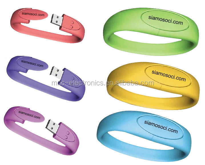 Hot Selling Bracelet USB , silica ge Bracelet USB Flash Drive With Free Logo Printing