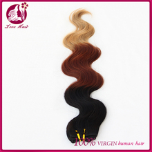 the secreat to make you more beautiful 2015 new arrival ombre three tone #1b/33/27 color body wave human hair weft/extension