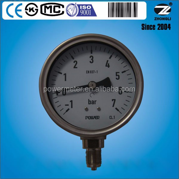 7bar stainless steel vacuum wika dry lpg gas meters for pipe hydraulic pressure test equipment