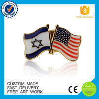 custom gold plated metal enamel country lapel pin flag badge
