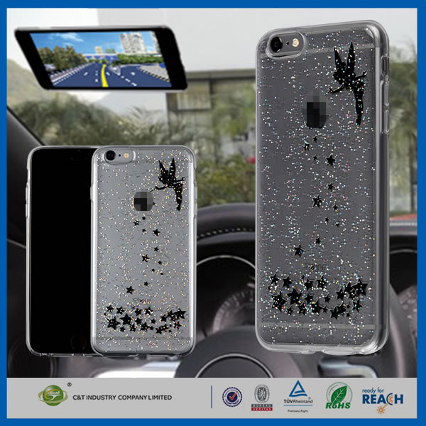 C&T Newest Pattern stick to window/mirror function/glass Invisible epoxy clear phone case for iphone 6 plus