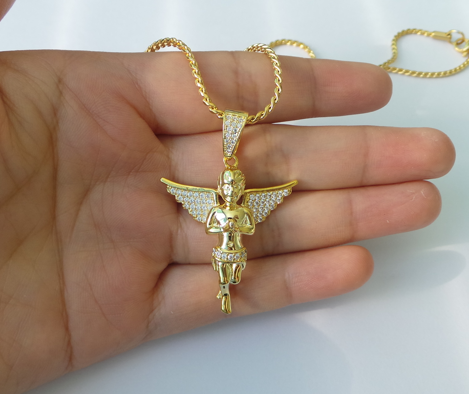 hip hop jewelry custom pave cz diamond angel pendant with rope chain