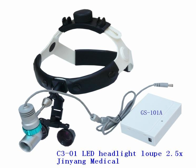 medical surgical loupes magnifying glass LED head light with rechargeable lithium battery
