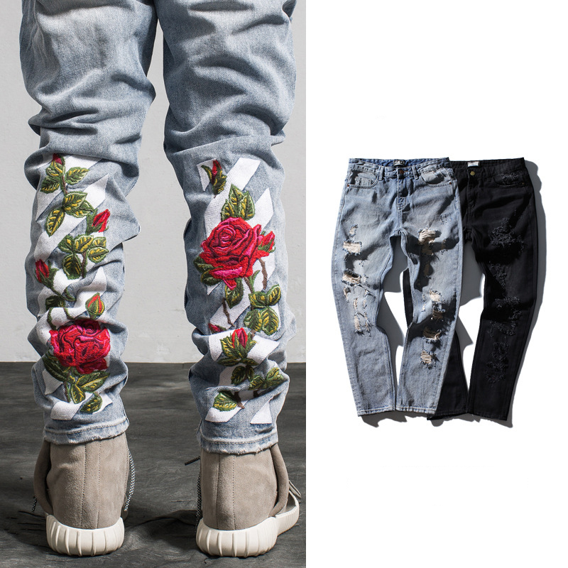 ZH0399G 2017 New Style Man Rose Embroidery Denim Ripped Jean