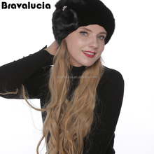 Hat manufacturer european winter hat mink Fur beanie mink cap Women's Knitted