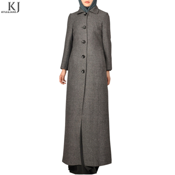 kyle and jane OEM muslim winter ladies long formal coat design with side pocket shirt collar for women