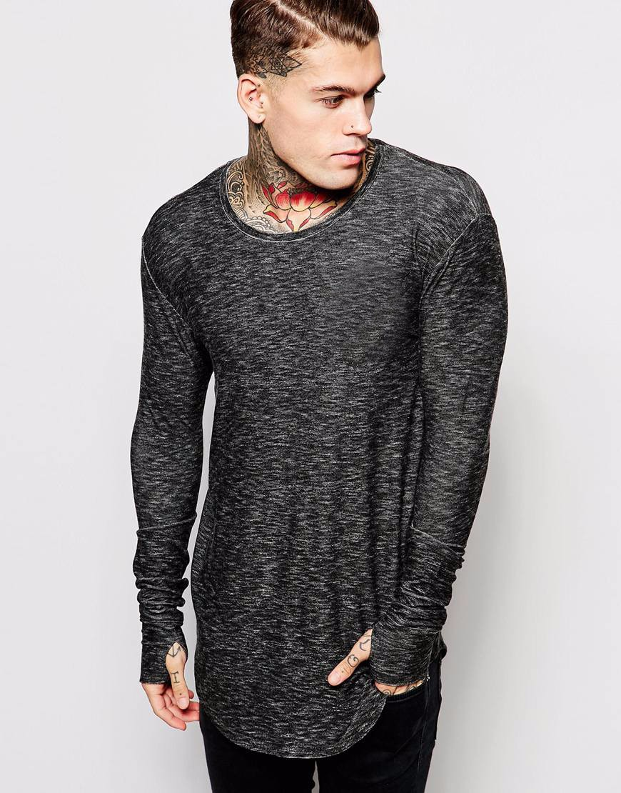 thumb hole design thin tight fit plain long sleeve long line t shirt men