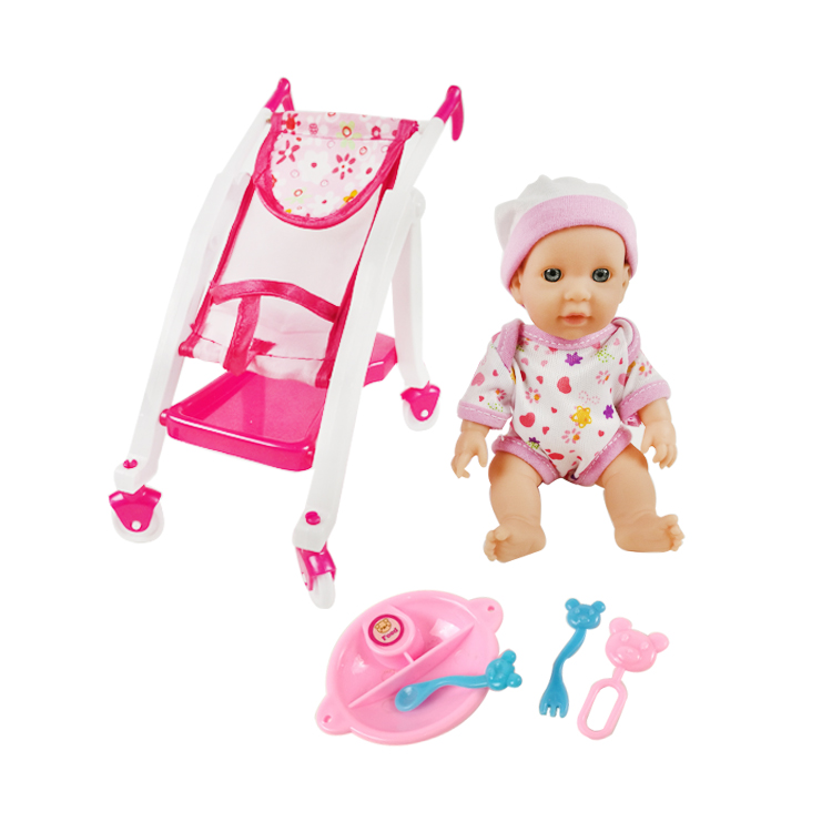 6 inch Micro mini baby reborn doll kits with trolley for kids