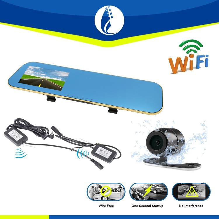 wireless wifi Full HD 1080P Car Dvr Camera 4.3 Inch car Rearview Mirror Digital Video Recorder Dual Lens Registrar Camcorder