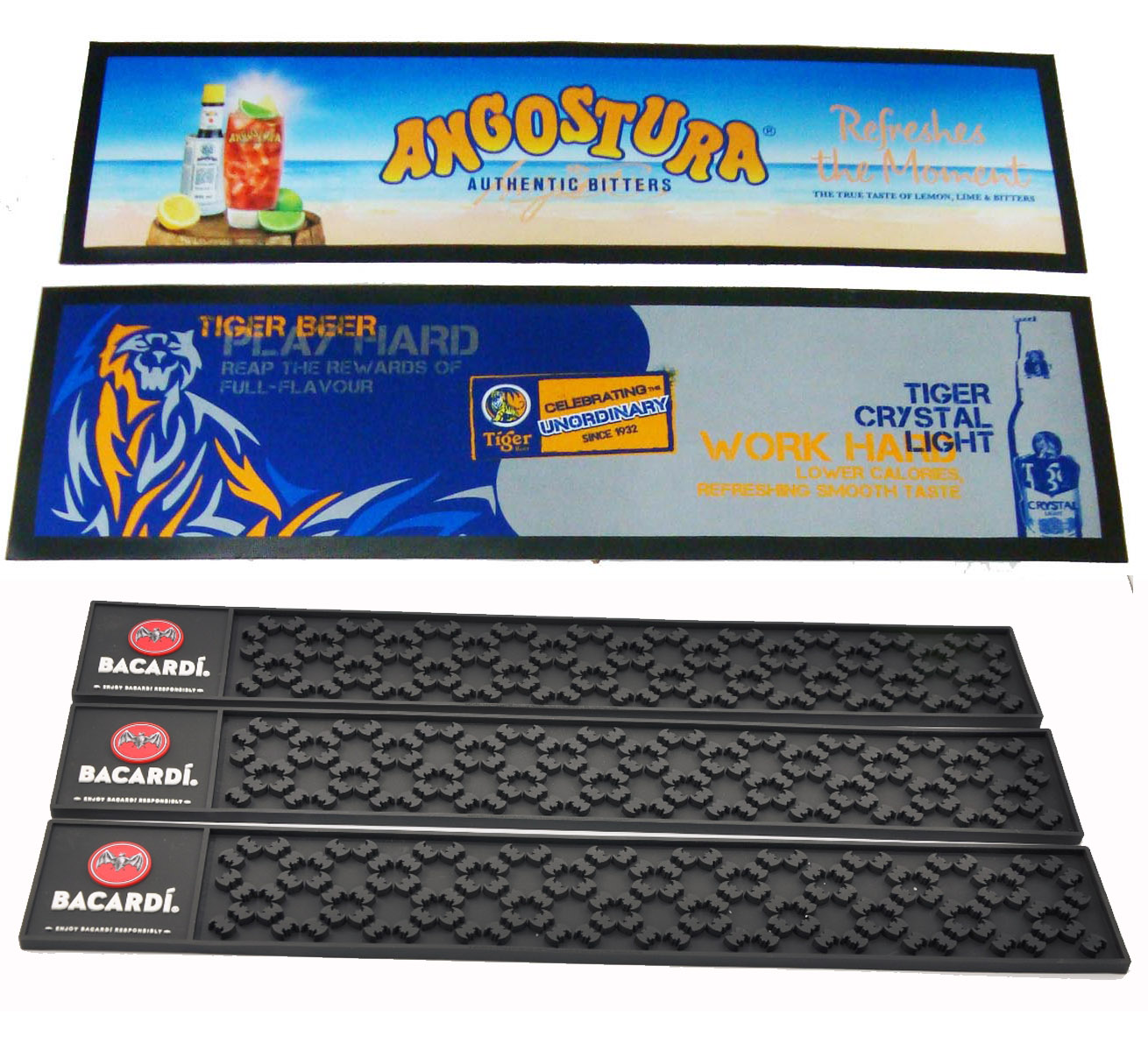 Knitted Polyester Fabric Surface Rubber back Bar runners in dye-sublimation imprint