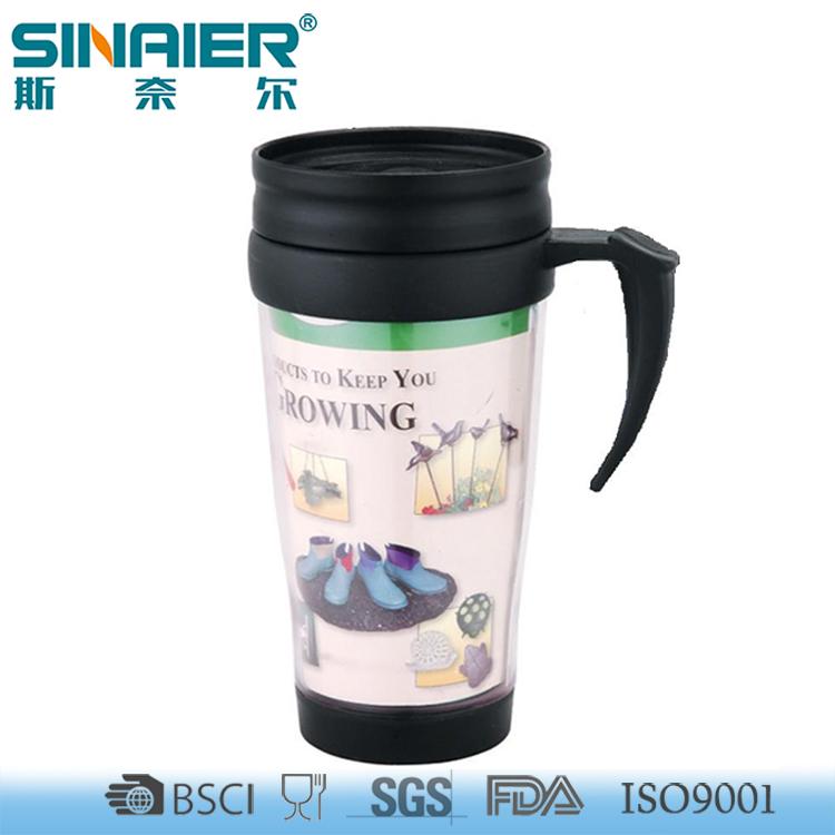Wholesale fashion unbreakable double wall plastic coffee mug with handle