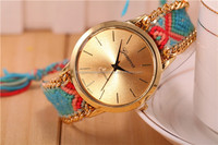 Latest stainless steel back geneva quartz rope band stylish girls watch