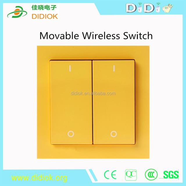 2 Gang Smart Home Automation,Phone Remote Wireless Light Switch, EU US UK Standard Light Yellow