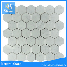 2016 hot sale bianco carrara mixed marble white hexagon floor mosaic tile