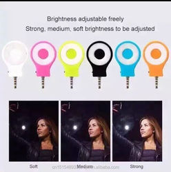 2016 mini fashional design ring led selfie flash light with jack 3.5mm for IOS & Android phones
