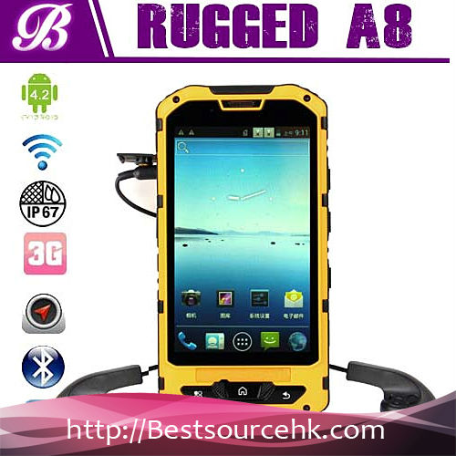 low price china mobile phone MTK6572 1.2GHz dual core IP68 Waterproof Dustproof rugged phone A8