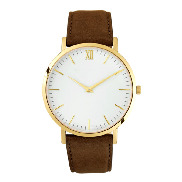Best price customize brown leather band polished gold wrist watch