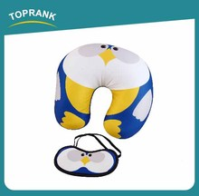 Toprank polyester children neck pillow,baby U shape animal neck pillow with eye mask