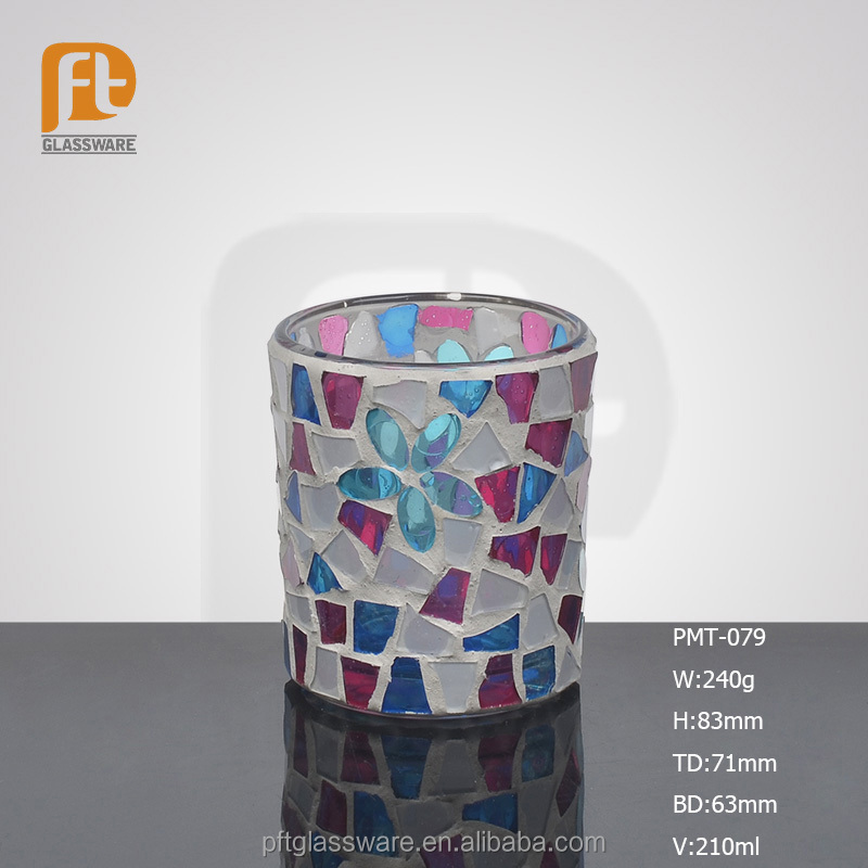 Wholesale home chinese handmade table decorative religious hand painted rotary colored glass tube candle holder