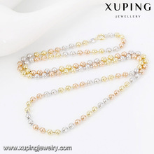 43205 simple gold ball engrave flower chain colorful and beautiful necklace