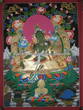 Golden Green Tara Thangka Buddhist Painting Handmade in Nepal
