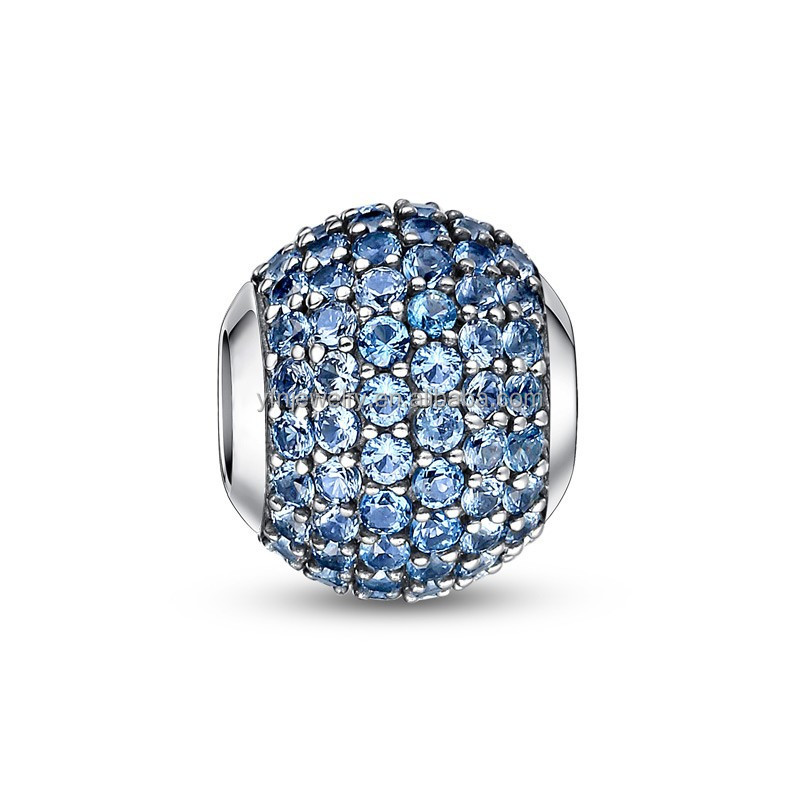 Modern March Birthstone Jewelry Light Blue CZ Paved Charm 925
