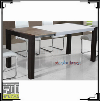 hot sale high gloss white square extendable dining table