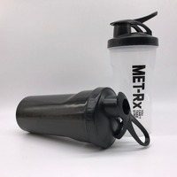QM customized logo big capacity plastic gym protein shake water bottle for sport with 304 Stainless Steel Ball